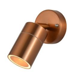 IP44 Adjustable Single Wall Spotlight in Copper for Exterior Lighting GU10 LED Lamp