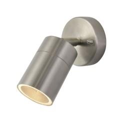 IP44 Adjustable Single Wall Spotlight in Stainless Steel for Exterior Lighting GU10 LED Lamp