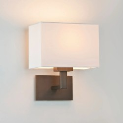 Connaught Bronze Wall Light with Rectangular White Fabric Shade IP20 using 1 x 7W LED Golf Ball E14/SES, Astro 1099004