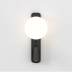 Zeppo Reader Wall Light Matt Black with Glass Diffuser IP20 using 1x3.5W LED G9 and 4.1W LED reader, Astro 1176009