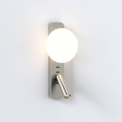 Zeppo Reader Wall Light Matt Nickel with Glass Diffuser IP20 using 1x3W LED G9 and 4.1W LED reader, Astro 1176010