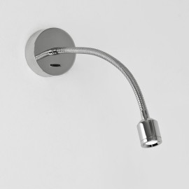 Fosso Switched LED Wall Light in Polished Chrome 2.5W 3000K IP20 Flexible Neck LED Spot, Astro 1138005