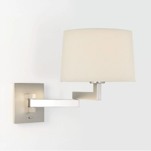 Momo Swing-Arm Wall Light in Matt Nickel with Toggle Switch 12W LED E27/ES (no shade), Astro 1162003