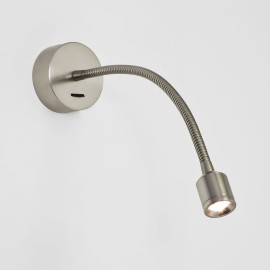 Fosso Switched LED Wall Light in Matt Nickel 2.5W 3000K IP20 Flexible Neck LED Spot, Astro 1138008