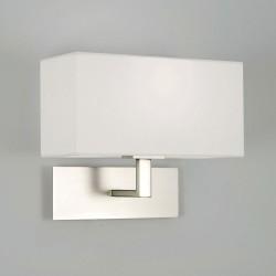 Park Lane Wall Lamp in Matt Nickel with White Rectangular Shade IP20 E14/SES max. 60W, Astro 1080009