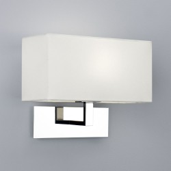 Park Lane Wall Light in Polished Chrome with White Fabric Shade using E14/SES lamp, Astro 1080011