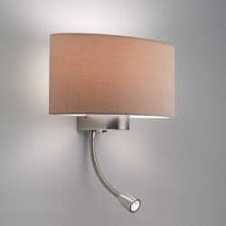 Napoli LED Matt Nickel Wall Lamp using 1 x 12W max. LED E27/ES and 2W LED Flexible Spot Switched (no shade), Astro 1185002