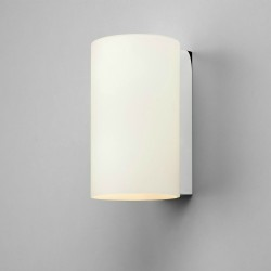 Cyl 200 White Glass Cylindrical Wall Light with Polished Chrome Support IP20 2 x 7W LED E14/SES Astro 1186001