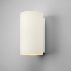 Cyl 260 White Glass Cylindrical Wall Light with Polished Chrome Support IP20 2 x 7W LED E27/ES Astro 1186002