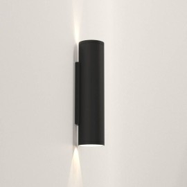 Ava 300 Wall Light in Textured Black using 2 x 6W max. LEDs GU10 IP44 for Up-Down Outdoor Wall Lighting, Astro 1428009