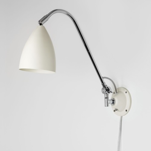 Joel Grande Cream Wall Light with Chrome Arm, Switched Adjustable Lamp with Cord and Plug, Astro 1223021
