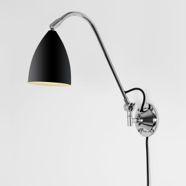 Joel Grande Switched Wall Light in Matt Black with Chrome, Adjustable Lamp with Cord, Astro 1223022