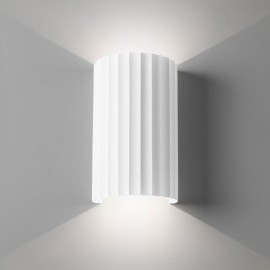 Kymi 220 Plaster Wall Light (Paintable) Ridged Semi-Cylindrical Fitting IP20 2 x GU10 lamps, Astro 1335001