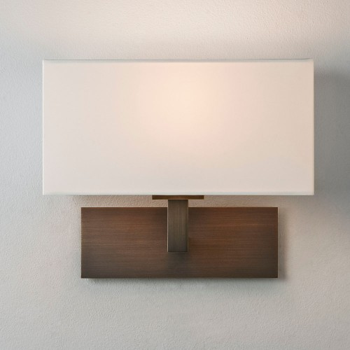 Park Lane Bronze Wall Lamp c/w Cream Fabric Rectangular Shade IP20 1 x 7W max. LED Golf Ball E14/SES Dimmable, Astro 1080044