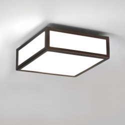 Mashiko 200 Square Bathroom Ceiling Light IP44 in Bronze with White Diffuser using 1 x LED E27/ES Lamp Dimmable Astro 1121056
