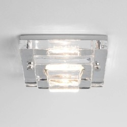 Frascati Square 12V Glass Bathroom Ceiling Light in Polished Chrome IP65 1x50W max. GU5.3 Lamp, Astro 1225004