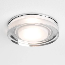 Vancouver Round Glass Bathroom Ceiling Light in Polished Chrome IP65 1x6W max. GU10 Lamp, Astro 1229003