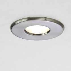 Kamo Brushed Nickel Round Fixed Bathroom Downlight IP65 with Frosted Glass 6W LED GU10, Astro 1236015