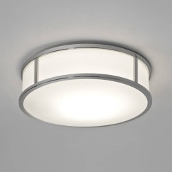 Mashiko 300 Round Bathroom Light in Polished Chrome with White Glass Diffuser for Wall / Ceiling IP44 E27/ES LED 12W Dimmable, Astro 1121017