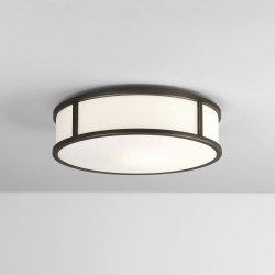 Mashiko 300 Round Bathroom Light in Bronze with White Glass Diffuser for Wall / Ceiling IP44 E27/ES LED 12W Dimmable, Astro 1121043
