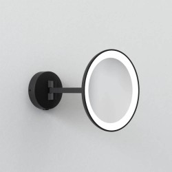 Mascali Round LED Vanity Mirror Light in Matt Black 2700K 7.2W IP44 Magnifying Mirror Astro 1373011