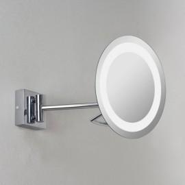 Gena Plus Round Bathroom Mirror Wall Light 3x Polished Chrome IP44 9W max LED GX53 with Adjustable Arm, Astro 1097002