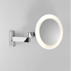 Niimi Round LED Magnifying Mirror for Bathroom Wall Mounting Polished Chrome Adjustable Arm IP44, Astro 1163001