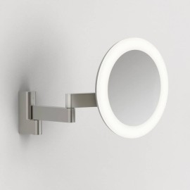 Niimi Round LED Magnifying Bathroom Mirror Matt Nickel Adjustable Arm IP44 5.2W LED 3000K, Astro 1163003