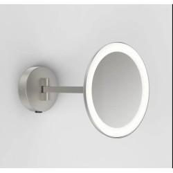 Mascali Round LED Vanity Mirror Light in Matt Nickel 2700K 7.2W IP44 Magnifying Mirror Astro 1373006