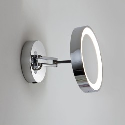 Catena LED Round Mirror Light Polished Chrome Adjustable Arm x5 Magnification IP44 3000K Switched, Astro 1137003
