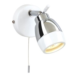 IP44 Marine White with Chrome Bathroom Wall Spotlight with Pull Cord Firstlight 8201WH