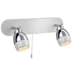 IP44 Marine Twin Bar Wall Bathroom Spotlights White with Chrome, with a Pull Cord Switch