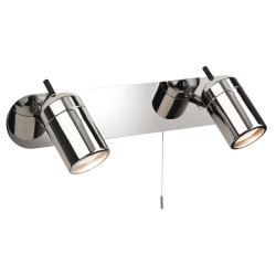 Atlantic Twin Bathroom Wall Spotlights on a Bar in Chrome with Pull Cord Switch 2 x GU10 35W