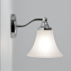 Nena Bathroom Wall Light in Polished Chrome and Bell-Shaped Glass Diffuser IP44 G9 max. 40W, Astro 1105001