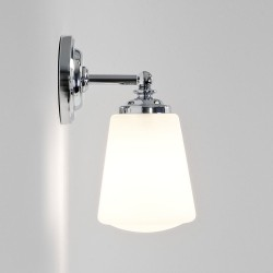 Anton Polished Chrome Bathroom Wall Light with Opal Glass Diffuser IP44 using E14/SES max. 40W, Astro 1106001