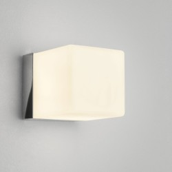 Cube Bathroom Wall Light in Polished Chrome White Opal Cube Diffuser IP44 using G9 40W, Astro 1140001