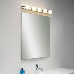 Cabaret 5 Globe Bathroom Wall Light in Polished Chrome with Pull Cord Switch IP44, Astro 1087003