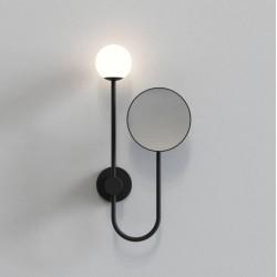 Orb Bathroom Wall Light with 5x Round Mirror in Matt Black using 3W max. LED G9 IP44, Astro 1424003