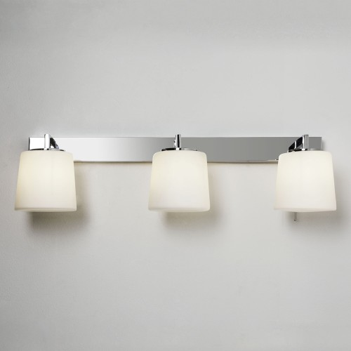 Triplex Bathroom Wall Lamp in Polished Chrome Switched IP44 3 x 40W G9 opal Diffuser, Astro 1304001