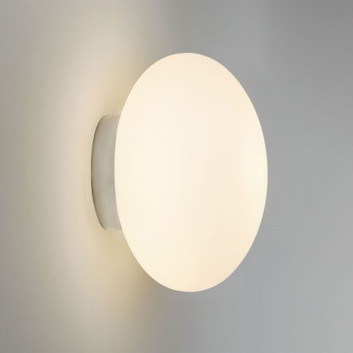 Zeppo Round Bathroom Wall Light in Polished Chrome and White Glass Diffuser IP44 G9 Astro 1176004