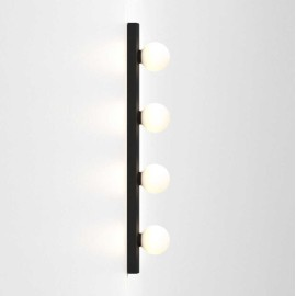 Cabaret 4 II Globe Bathroom Wall Light in Matt Black IP44 rated with Four Glass Globe Lamps 4x 3W LED G9, Astro 1087007