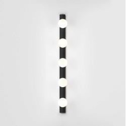 Cabaret 5 II Globe Bathroom Wall Light in Matt Black IP44 rated with Five Glass Globe Lamps 5x 3W LED G9, Astro 1087008