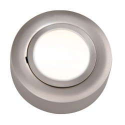 12V 20W Round Under Cabinet Light Fitting in Brushed Chrome with GX5.3 10W/20W Lamps Included