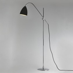 Joel Floor Light in Matt Black with Chrome Detailing using E27 lamp with Switch on Cord, Astro 1223005