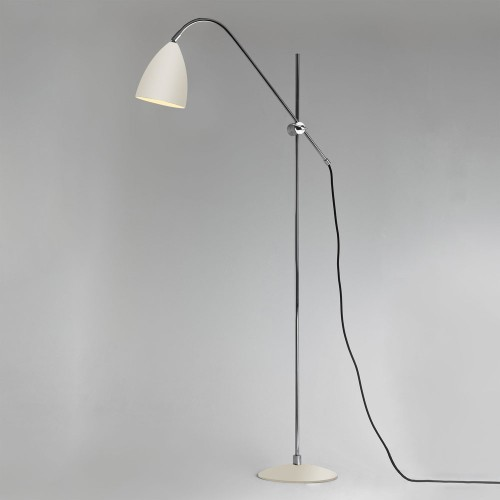 Joel Floor Light in Cream with Chrome Detailing using E27 lamp with Switch on Cord, Astro 1223006