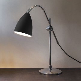 Joel Grande Table Lamp in Matt Black and Polished Chrome, Switched Lamp with Adjustable Head, Astro 1223011