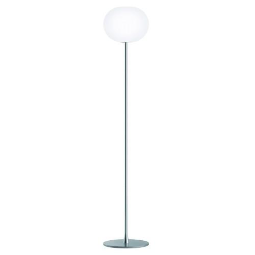 Flos Glo-Ball F2 Floor Lamp in Matt Silver 175cm height with 33cm Glass Globe Shade by Jasper Morrison