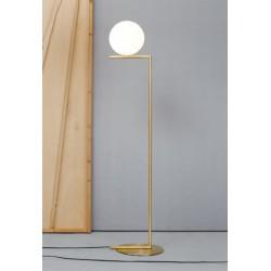 Flos iC F1 Brass Floor Light Small with 20cm Opal Diffuser design Michael Anastassiades