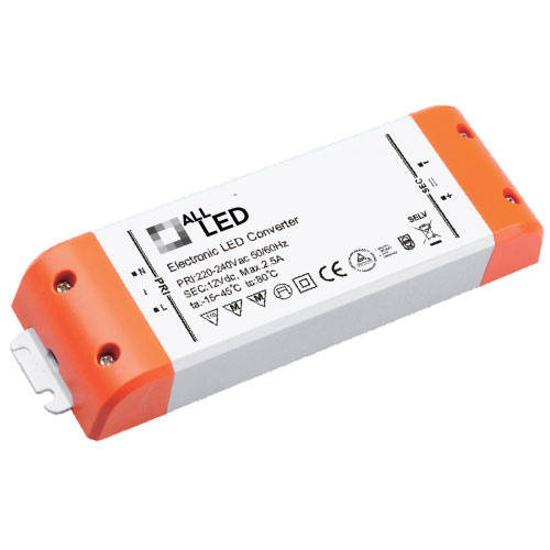 12V DC 1-30W Constant Voltage LED Driver, IP20 rated 30W 12V 2.5A LED Power Supply