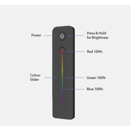 Single Zone RGB Slider Remote Control, Touch Slider for Colour Control FossLED FLCT1R